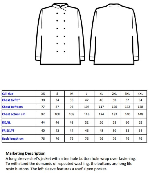 Veste de cuisine button White ASPR657