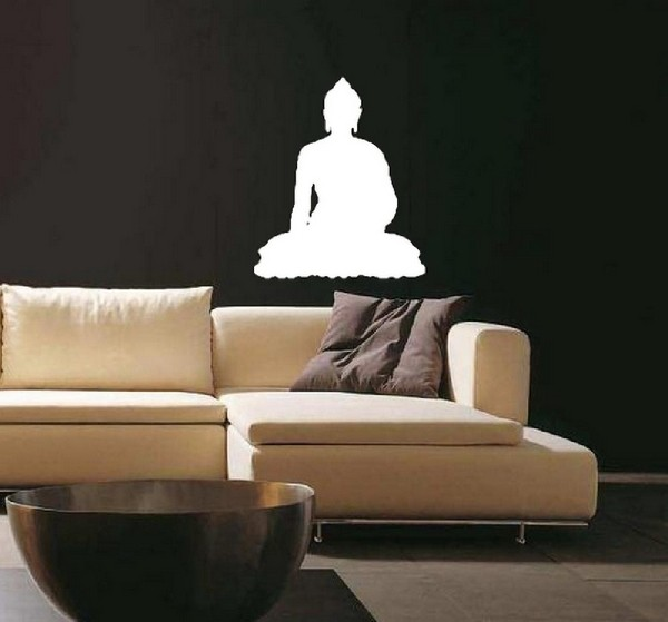 Exemple de stickers muraux: Bouddha Silhouette
