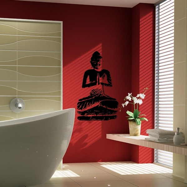 stickers stickers salle de bain bouddha en meditation art stick. Black Bedroom Furniture Sets. Home Design Ideas