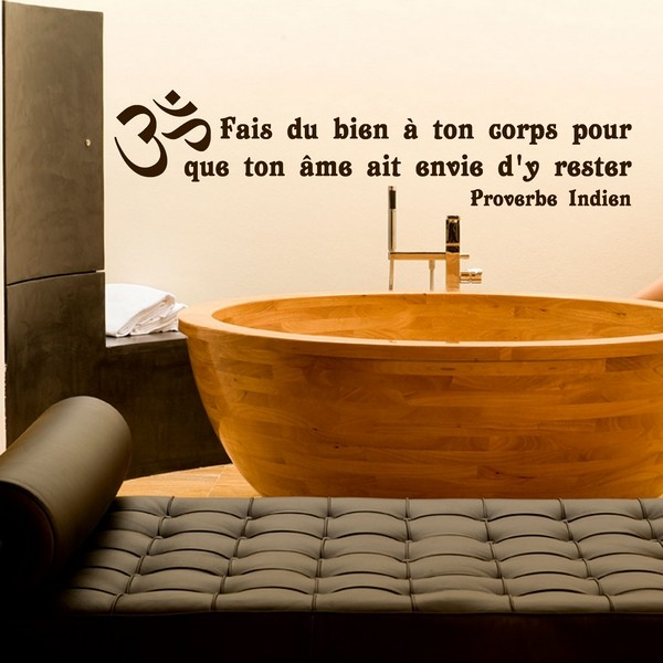 Stickers stickers salle de bain corps proverbe indien for Citation salle de bain