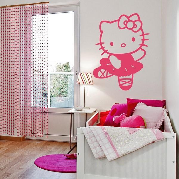 Stickers stickers kinderkamer hello kitty dans art stick for Deco voor slaapkamer meiden