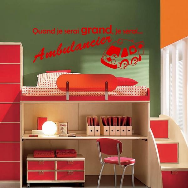 stickers quand je serai grand ambulancier art stick. Black Bedroom Furniture Sets. Home Design Ideas